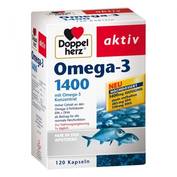 德国Doppelherz 双心高剂量浓缩Omega-3深海鱼油1400毫克