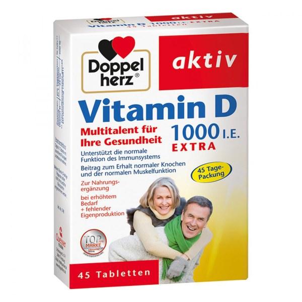 德国双心Doppelherz 维生素D1000 Vitamin 45粒抵抗力钙老人