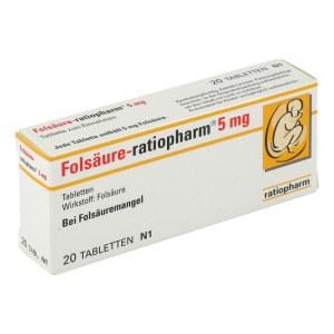 Ratiopharm 5 mg 补充叶酸片 20粒