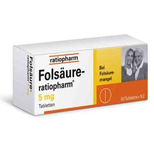 RATIOPHARM 5MG叶酸片 50片 皮肤指甲头发护理保养